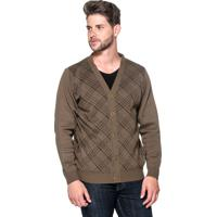Cardigan Passion Tricot Xadrez Brown