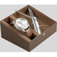 Kit De Relógio Analógico Mondaine Masculino + Canivete - 76609G0Mvnh2Ka Prateado - Único