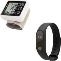 Kit Relógio Bracelete Pedômetro Inteligente Bluetooth Medidor Frequência Cardíaca E Medidor Eletrônico De Pressão Pulso Automático