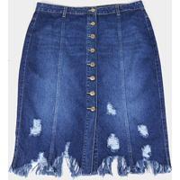 Saia Jeans Cambos Midi Plus Size Com Recortes E Barra Desfiada - Feminino-Azul