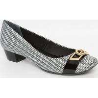 Sapato Em Couro Com Aviamento- Branco & Preto- Saltojorge Bischoff