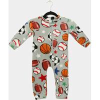 Macacão Infantil Longo Candy Kids Pijama Soft Zíper Baby - Masculino-Cinza