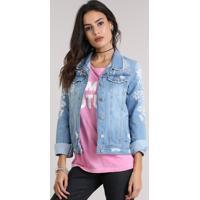 Jaqueta Jeans Com Bordado Floral Azul Claro