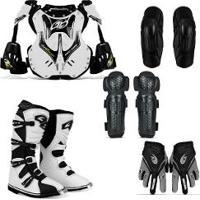 Kit Pro Tork Colete Branco + Bota Motocross 41 + Joelheiras + Cotoveleiras G + Luvas M