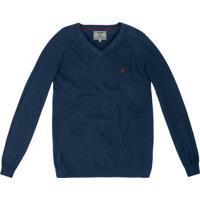 Suéter Tricô Gola V Azul Escuro
