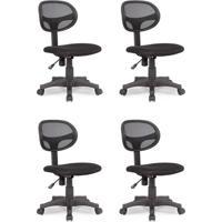 Conjunto Com 4 Cadeiras De Escritório Secretária Giratórias Canadá Preto