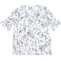 Blusa Feminina Em Tecido Maquinetado De Viscose Estampada
