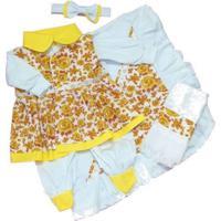 Kit I9 Baby Saída Maternidade Menina 5 Peças Floral Amarela