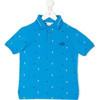 Boss Kids Camisa Polo Com Estampa De Palmeira - Azul