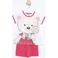 Pijama Ursinho Com Poás- Branco & Pinkkyly