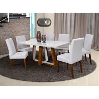 Conjunto De Mesa Milão Com 6 Cadeiras Jasmim Imbuia E Off White Linho