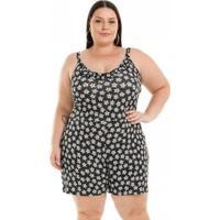 Macaquinho Miss Masy Plus Size Viscolycra - Feminino-Preto