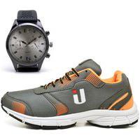Tênis Masculino Ousy Shoes Training Academia Ultraleve Brinde Relógio Laranja