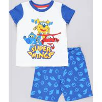 Pijama Infantil Super Wings Manga Curta Off White