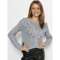 Blusa Tricot Com Franjas- Azulspezzato