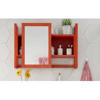 Espelheira / Gabinete Com Espelho Para Banheiro - Armário Aéreo Com Espelho Aquiles - Cor Vermelho - 60X86 Cm