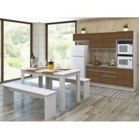 Cozinha Compacta Allana 4 Peças Glamy 7 Portas E 2 Gavetas Branco E Rustic