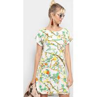 Vestido Heli Reto Tropical - Feminino-Branco
