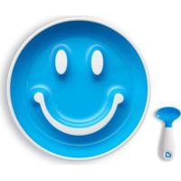 Prato Smile- Azul & Branco- 4,5Xã˜19Cm- Munchkinmunchkin