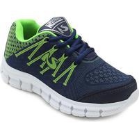 Tênis Infantil No Stress Jogging 751 - Masculino-Marinho+Verde Limão
