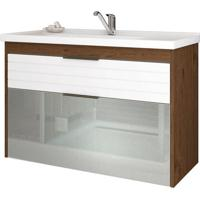 Gabinete De Banheiro Azaleia 1 Pt 1 Gv Amêndoa E Branco 79 Cm