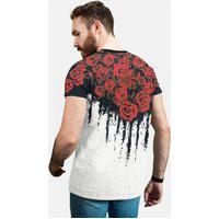 Camiseta Preta Florida, Floral Rosas Vermelhas, Calt Store Preto