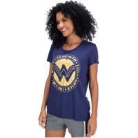 Camiseta Liga Da Justiça Mulher-Maravilha Força - Feminina - Azul Escuro