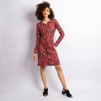 Vestido Crepe Midi Animal Print Feminino Vermelho