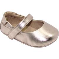 Sapato Boneca Com Tira - Dourado- Luluzinhaluluzinha