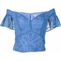 Martha Medeiros Blusa Rafaela Rendada - Azul