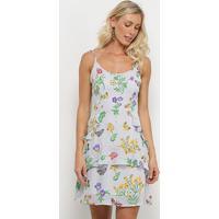 Vestido Yutz Listrado Floral Babado - Feminino-Cinza