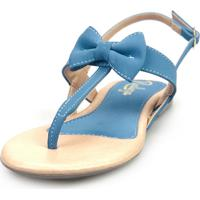 Sandália Rasteira Realeza Fio Dental Laçinho Azul