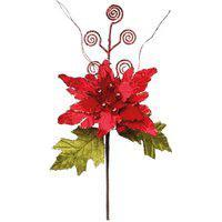 Flor Decoraçáo Natal 1 Unidade Poinsetia Galhos Vermelha