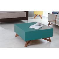 Mesa De Centro Quadrada Colorida Azul 70X70 Design Moderno E Retrô Freddie - 70,6X70,6X33,7 Cm