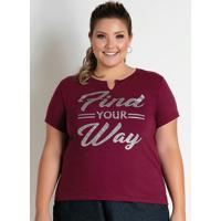 Blusa Bordô Com Estampa Na Frente Plus Size