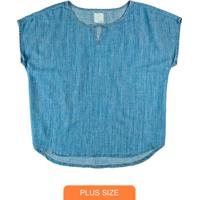 Blusa Azul Claro Jeans Leve Com Liocel