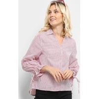 Blusa Lilly Fashion Listrada Amarração Feminina - Feminino-Vermelho