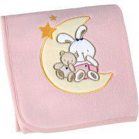 Manta Fleece Para Bebê Lepper Bordada Mini Urso 82X82Cm Rosa