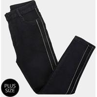 Calça Jeans Sawary Plus Size Faixa Lurex Feminina - Feminino-Preto