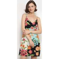 Vestido Lez A Lez Curto Alças Cruzadas Estampado - Feminino-Floral