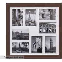 Painel Para 8 Fotos- Marrom & Branco- 45X45X2Cm-Kapos
