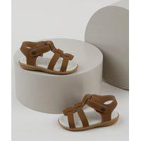 Sandália Papete Infantil Pimpolho Com Velcro Caramelo