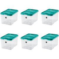 Kit Com 6 Caixas Organizadoras Plus Verde-Água 22 L