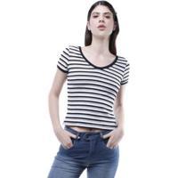Blusa Pop Me Decote V Listrada Feminina - Feminino-Mescla