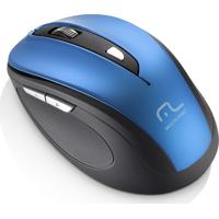 Mouse Sem Fio Comfort 6 Botões Azul/Preto Usb Multilaser