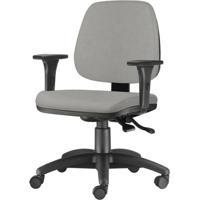 Cadeira Job Com Bracos Assento Courino Cinza Claro Base Nylon Arcada - 54610 Sun House