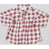 Camisa Infantil Estampada Xadrez Com Botões Manga Longa Vermelho