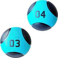 Kit 2 Medicine Ball Liveup Pro 3 E 4 Kg Bola De Peso Treino Funcional - Unissex
