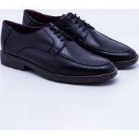 Sapato Social Couro Spazzolato Masculino - Masculino-Preto