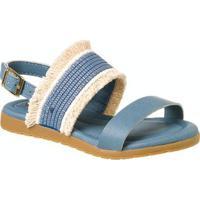 Sandália Infantil Klin Flat Franjas Feminina - Feminino-Azul Claro